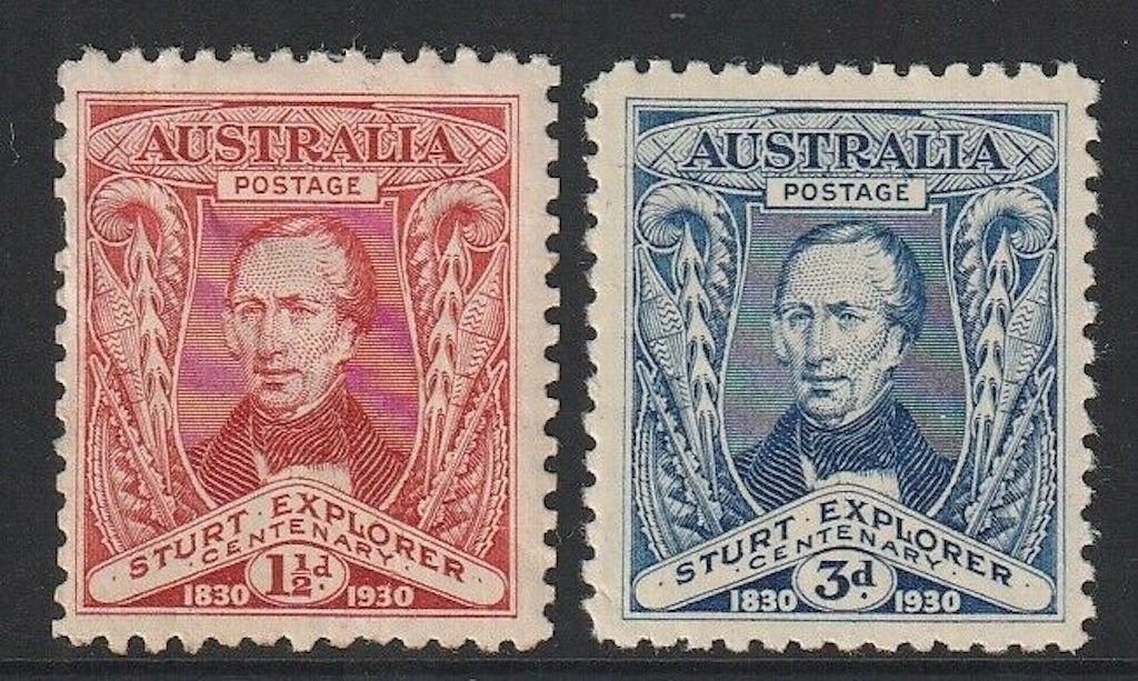 .<br />Australia, 1930, Sturt commemoratives and aboriginal artefacts, SG 117-8