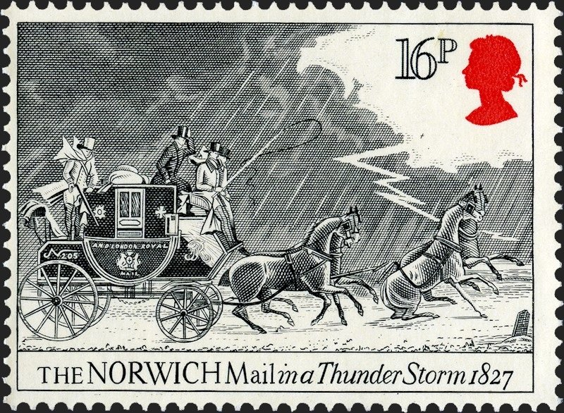 GB Stamp : The NORWICH Mail in a Thunder Storm 1827 : Issue date: 31 July 1984