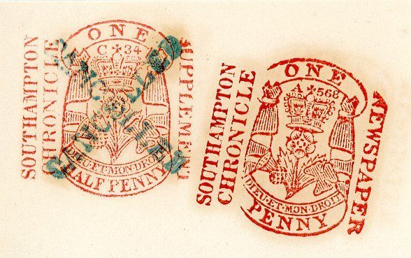 Southampton Chronicle newspaper tax stamps, distinctive dies and cancellation