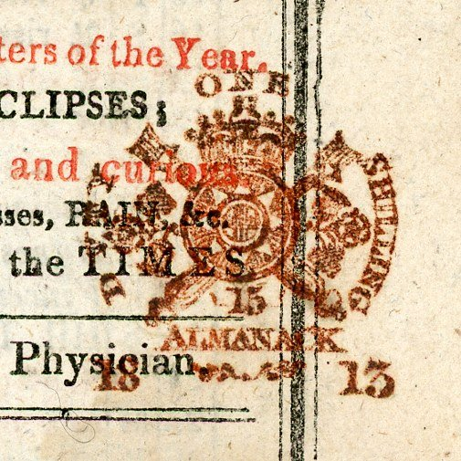 One Shilling Type 80 almanack tax stamp