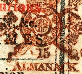 Die 15 2nd recut One Shilling Type 80 almanack tax stamp