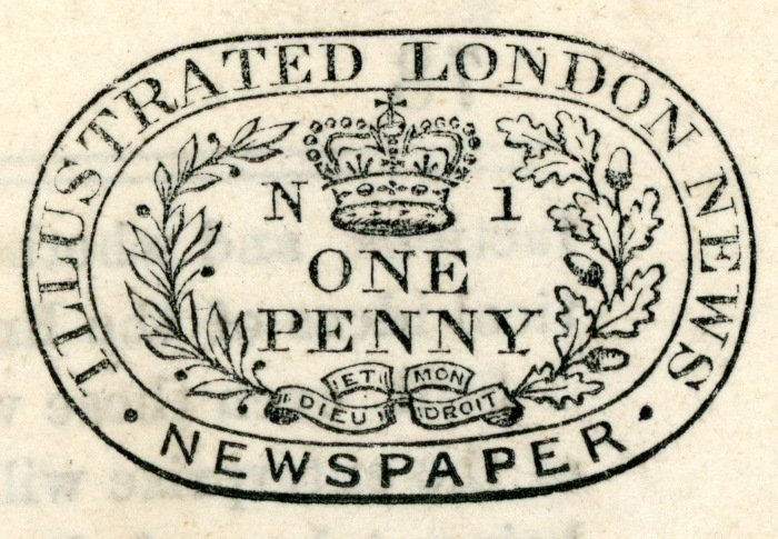 Illustrated London News black stamp N1, State II black tax stamp