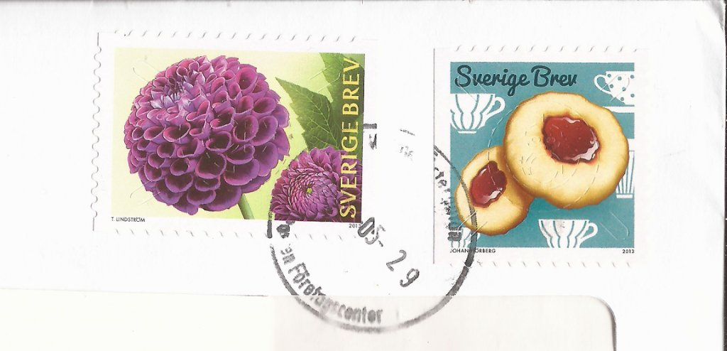 Detail of stamps on Postiljonen cover.