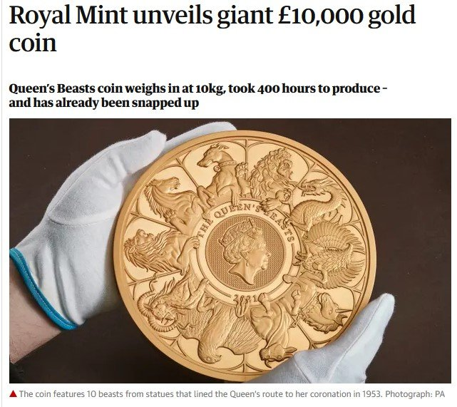 The coin features 10 beasts from statues that lined the Queen's route to her coronation in 1953. Photograph: PA