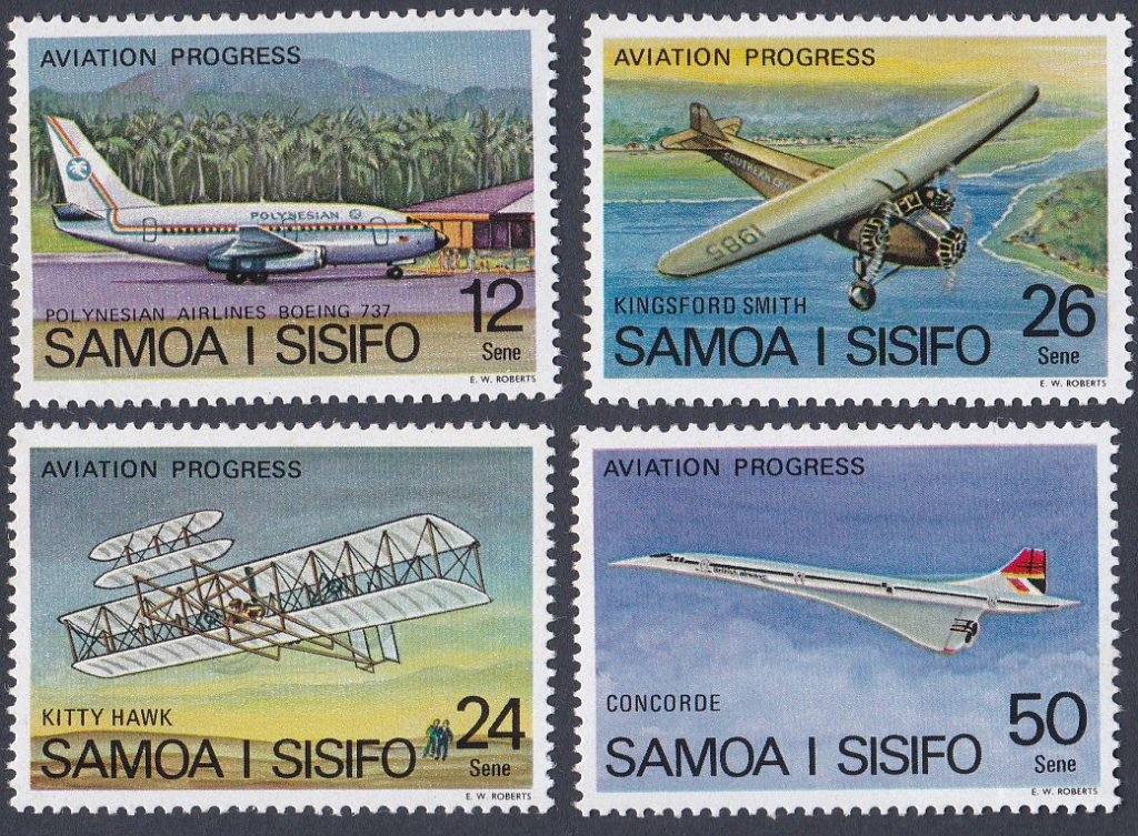 Set of 4 stamps from Samoa charting Aviation progress from Kitty Hawk to the Concorde.