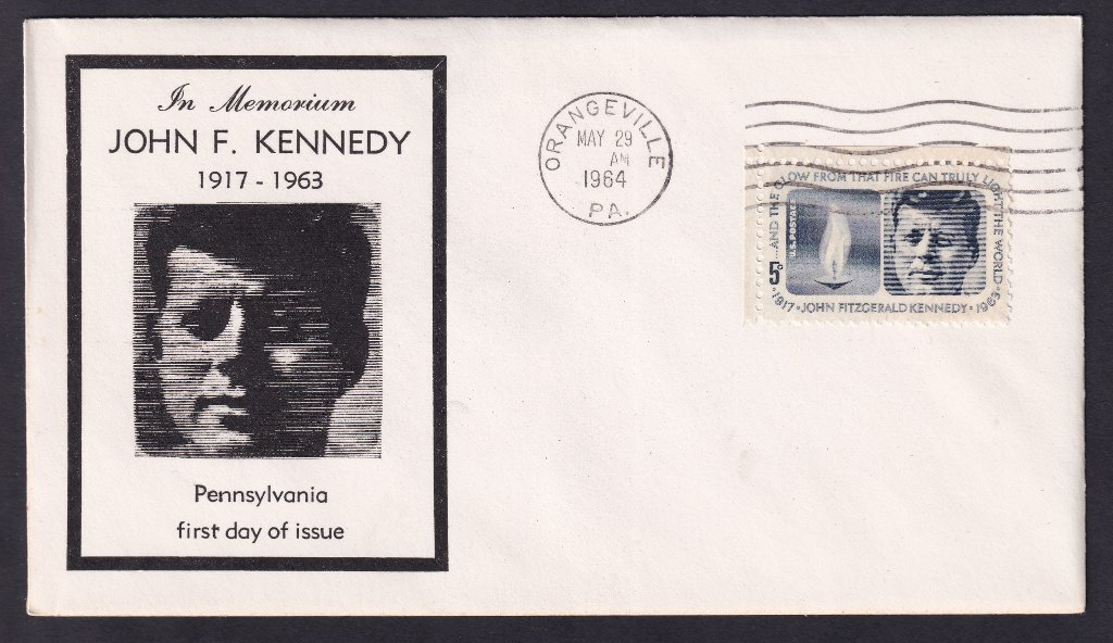 JFK fdc unknown cachet (not in Mellone) postmarked Orangeville, Pennsylvania,.