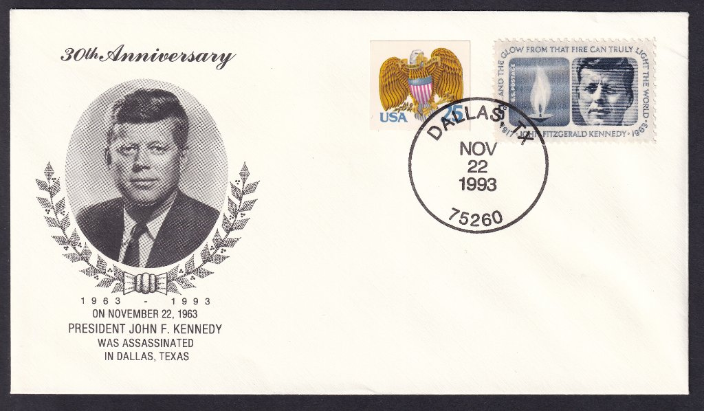 JFk 30th Anniversary cover postmarked Dallas Texas 22nd November 1993