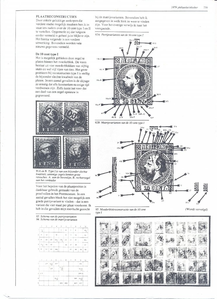 Information about a plate reconstruction of the 10 cent, type I