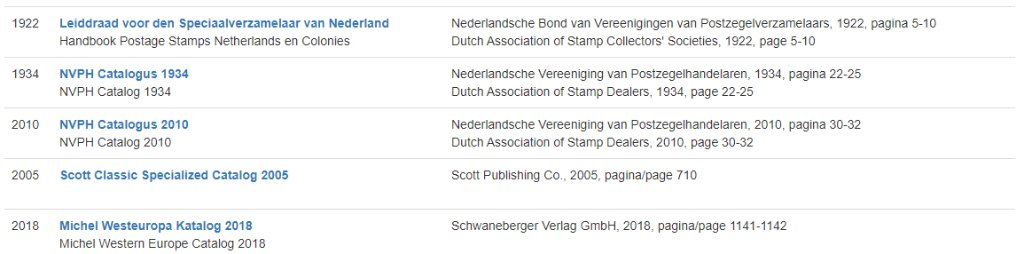 Used catalogs for exploring the 1867 issue of The Netherlands