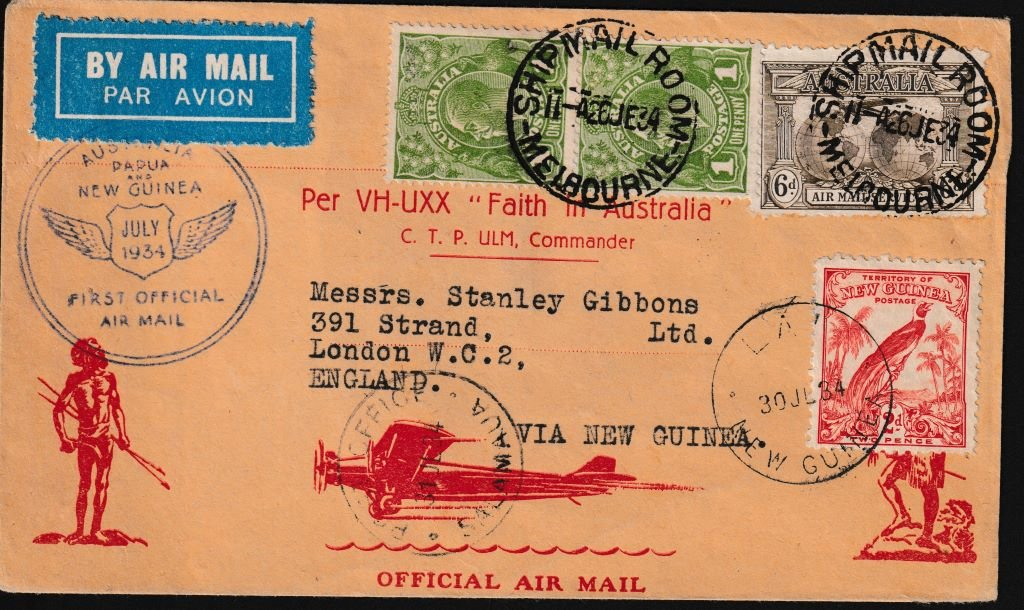 July 1934. First Official Airmail -Australia to London, via Papua New Guinea