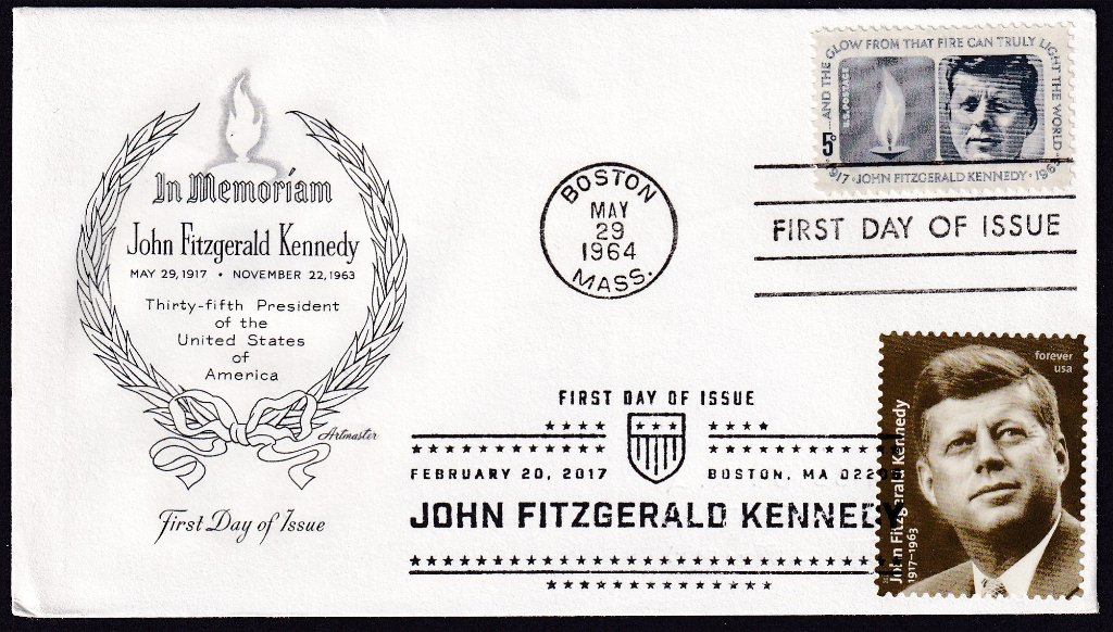 JFK 1964 (Scott 1246) Artmaster fdc (Mellone #5) with JFK 100th Birthday 2017 (Scott #5175)