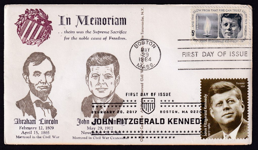 JFK 1964 (Scott 1246) CWC of Tonawandas NY fdc (Mellone #207) with JFK 100th Birthday 2017 (Scott #5175)