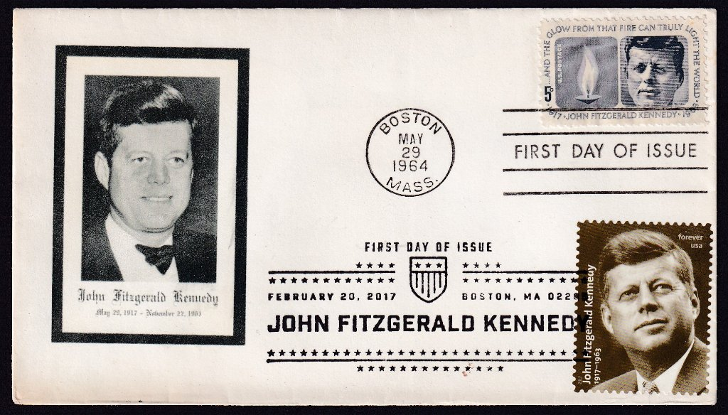 JFK 1964 (Scott 1246) Unknown cachet fdc (Not in Mellone) with JFK 100th Birthday 2017 (Scott #5175)