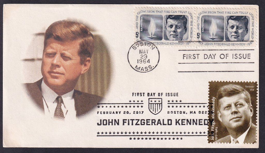 JFK 1964 (Scott 1246) Add on cachet fdc (possibly by Jerry Myers (Not in Mellone) with JFK 100th Birthday 2017 (Scott #5175)