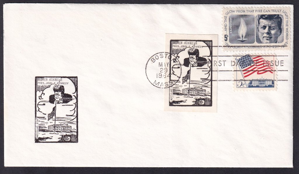 JFK 1964 (Scott 1246) uncacheted fdc with Stars & Stripes 5c stamp & Cadillac Post of New Jersey local post cinderellas.