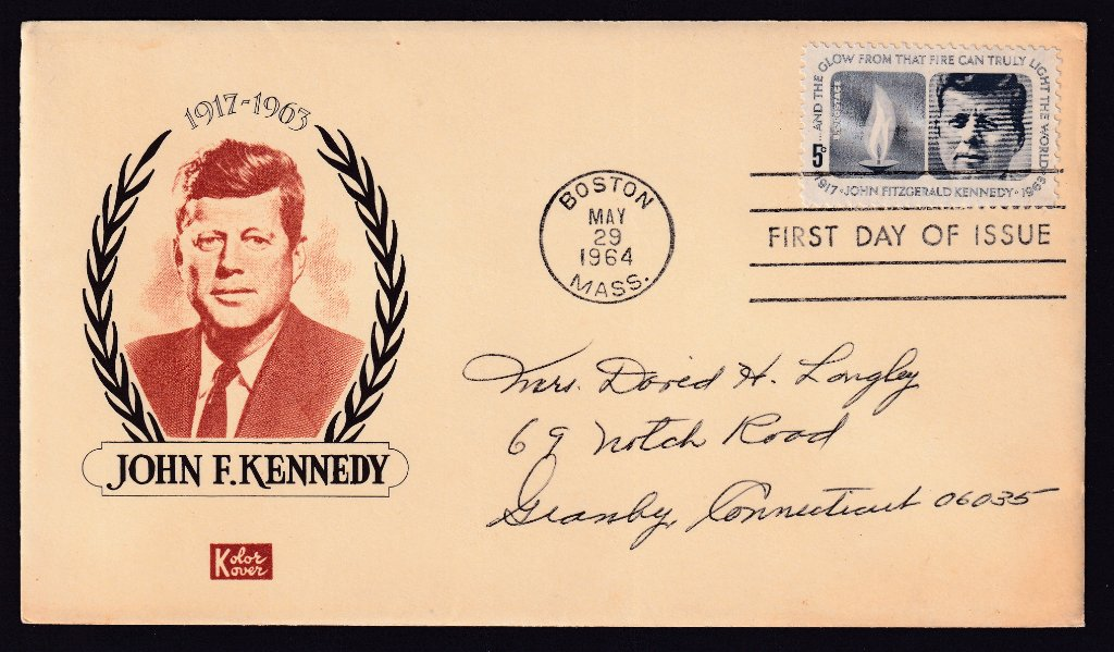 JFK Kolor Kover cachet fdc (Mellone #104) postmarked Boston fdi machine cancel 29th May 1964 to Granby Connecticut.