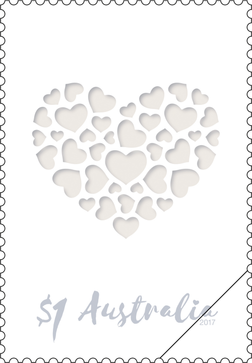 2017 Australia Stamp Love Issue - $1 Heart made of hearts SG 4680