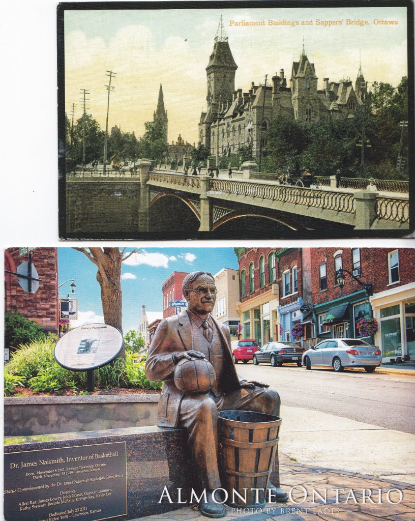 Top: Parliament Buildings and Sapper's Bridge in Ontario ca. 1900. Lower: Dr. Naismith, Inventer of Basketball, statue in Almonte, Ontario.