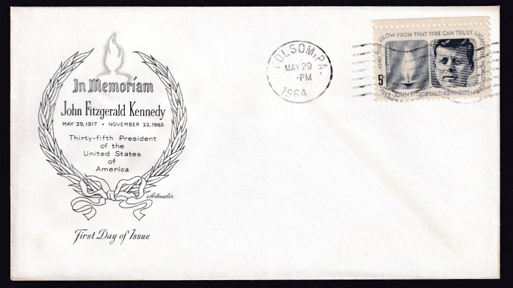 JFK Scott #1246 Artmaster (Mellone #6) cachet postmarked Folsom PA March 29, 1964