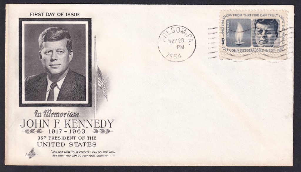 JFK Scott #1246 Artcraft (Mellone #4) cachet postmarked Folsom PA March 29, 1964