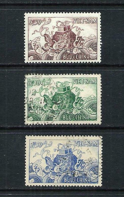 .<br />Vietnam (South), 1955, Turtle set of three stamps