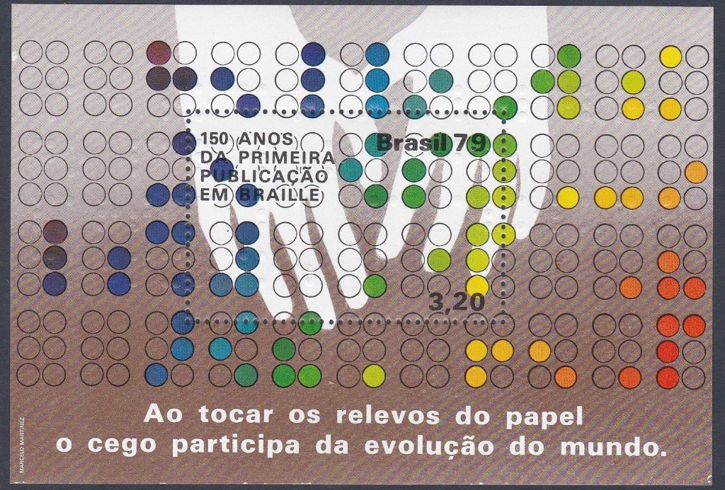 .<br />Brazil, 1979, Minisheet commemorating 150 years since <br />publication of the first book in Braille. Sc 1650, Yv. Br BF40