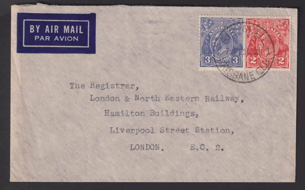 Air Mail to Registrar of London & North Eastern Railway