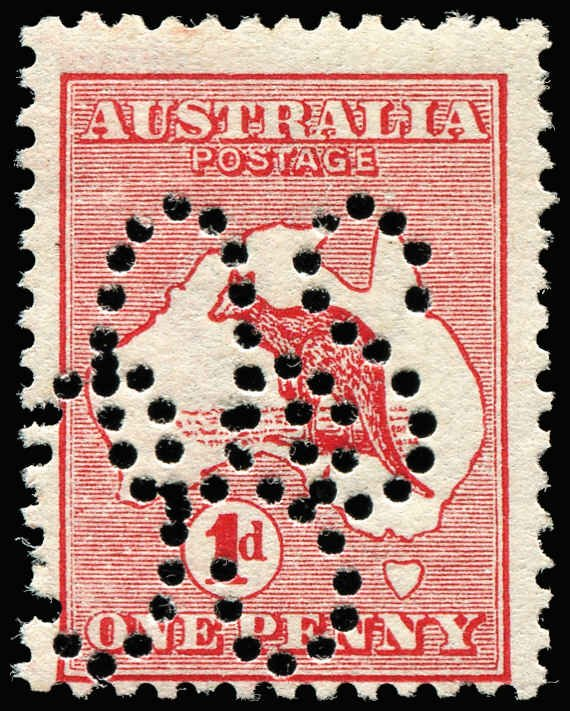 1913 1d Kangaroo stamp DOUBLE perfin of large OS mint