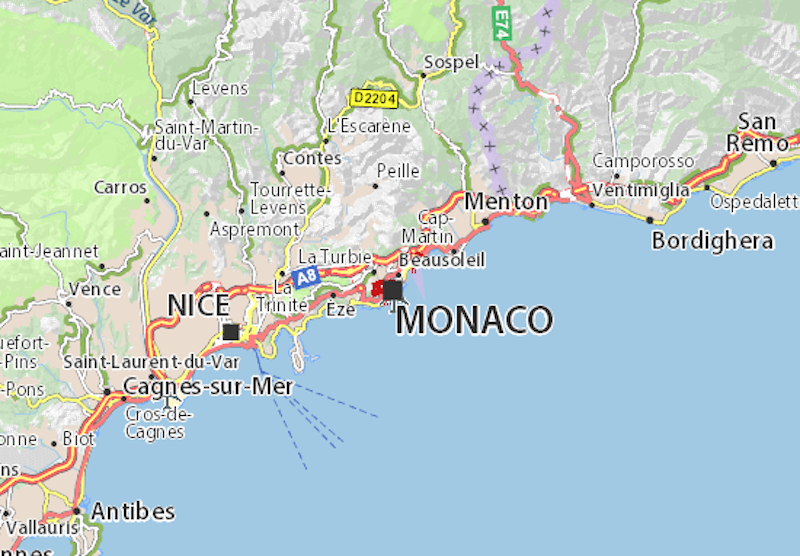 Antibes to San Remo, with Nice and Monaco