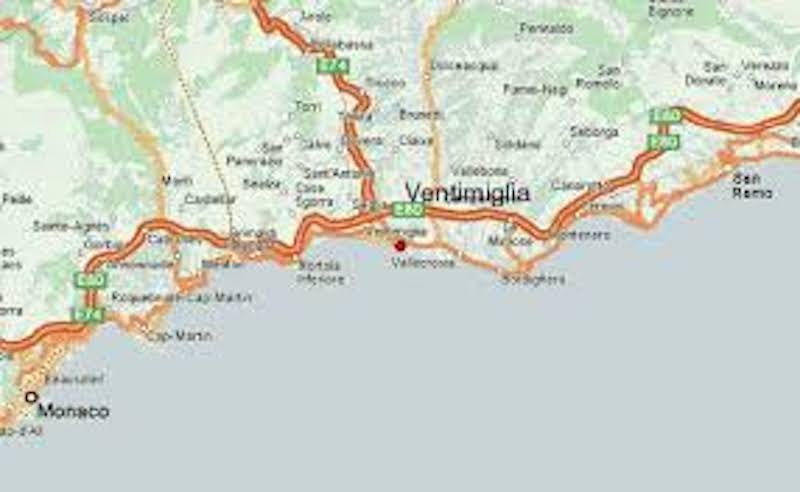 Larger scale: Monaco and Ventimiglia