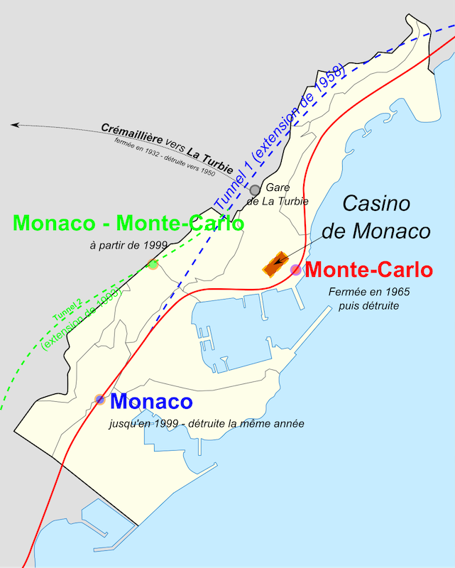 Monaco, showing railway stations