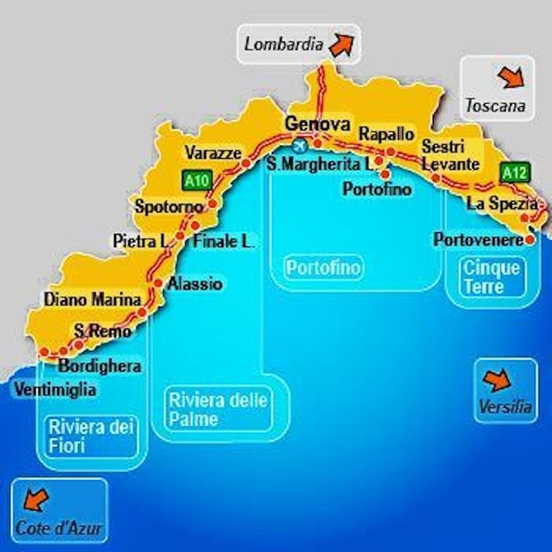 Divisions of the Italian Riviera