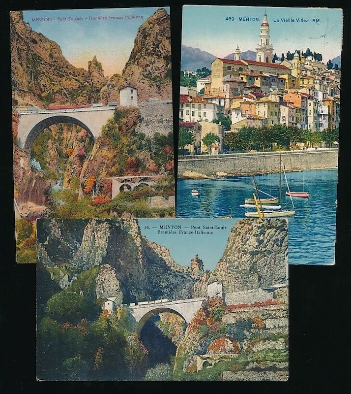 Postcards of Menton, just inside the Frnch border