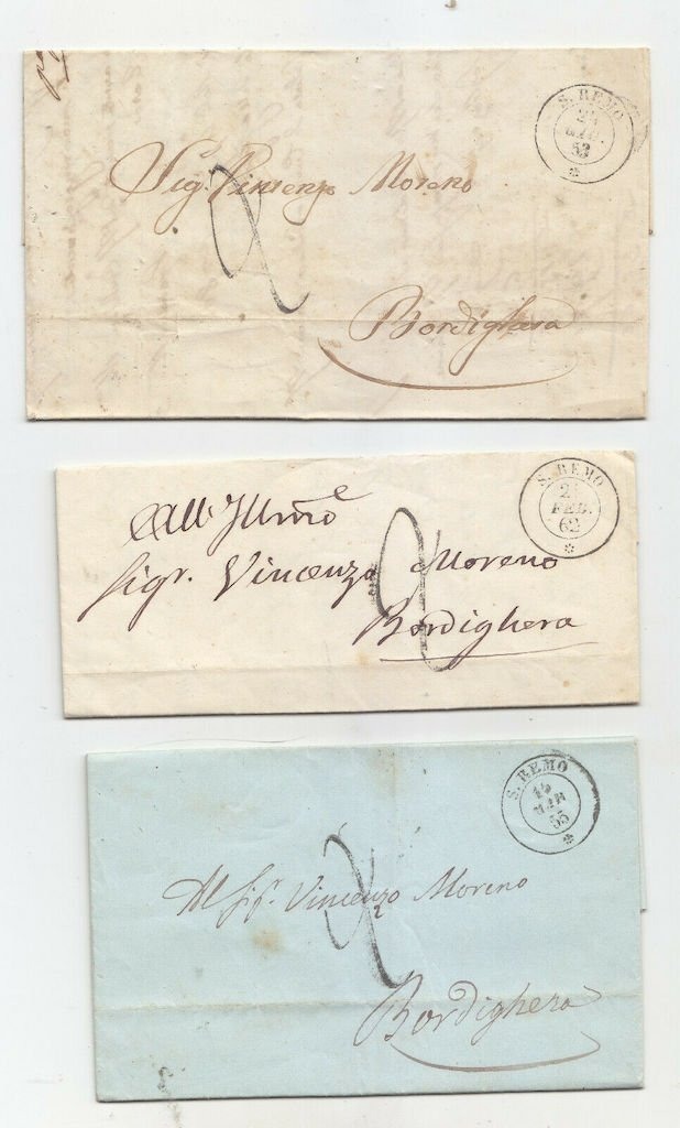 Stampless folded letters, San Remo to Bordighera, <br />1853, 1862 and 1855.