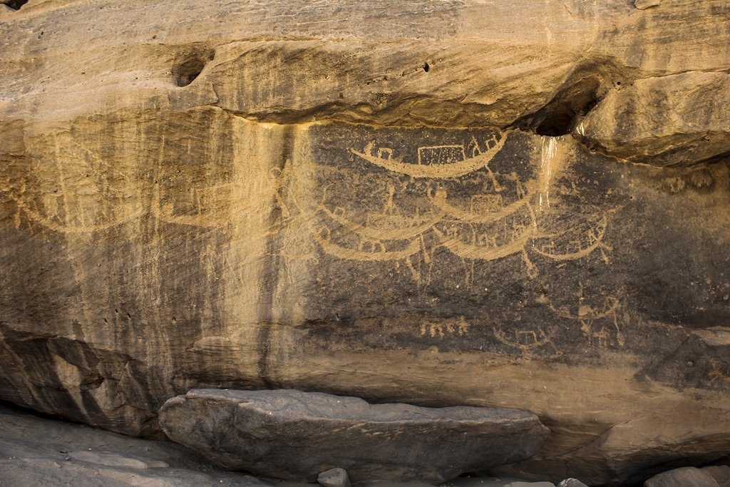 .<br />Nile boats, ancient rock art at the Sabu-Jaddi site <br />in the Nile Valley, within modern Sudan