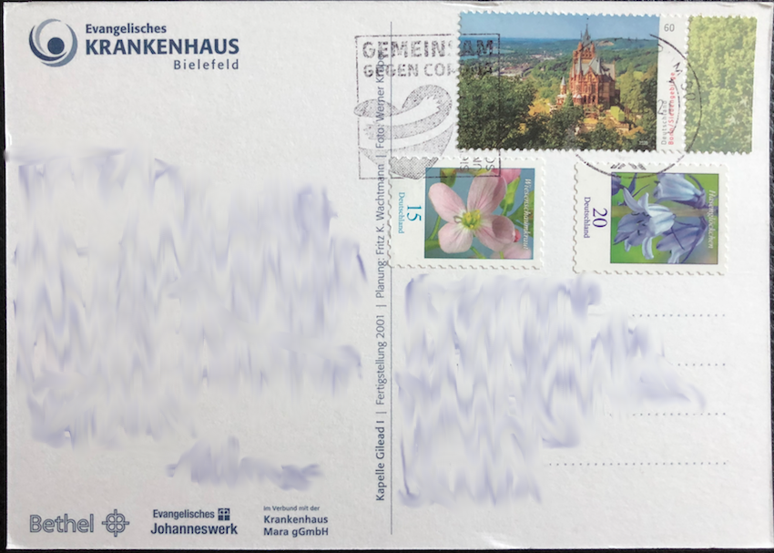 2020 - Germany - Drachenburg Castle single, 2018 - Germany - 15¢ Milkmaids (Cardamine pratensis) single and 2018 - Germany - 20¢ Common bluebell (Hyacinthoides non-scripta) single on postcard
