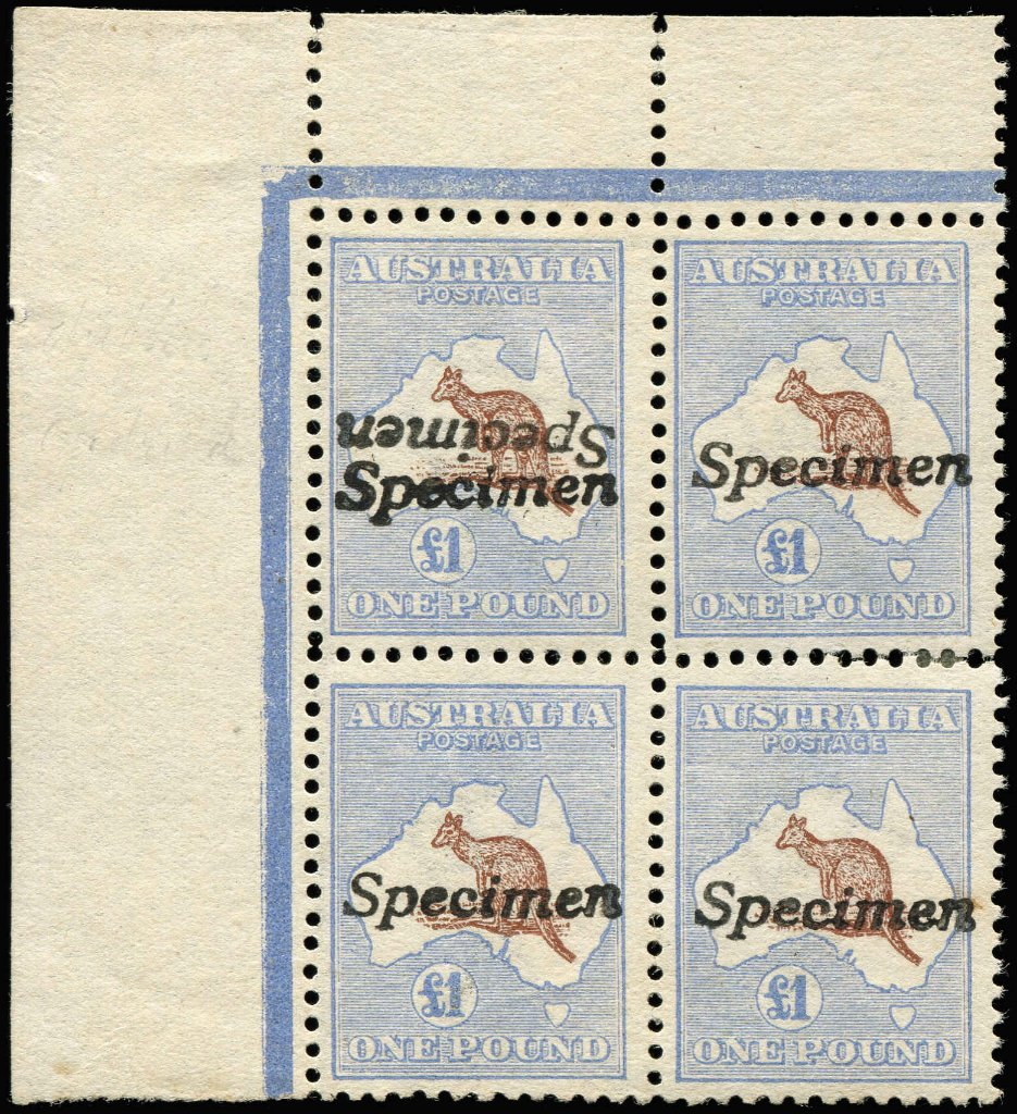 £1 Brown & Blue Kangaroo stamp, marginal block of 4 [L1-2,7-8] unit 1 with Specimen ovpt doubled, one inverted, no gum