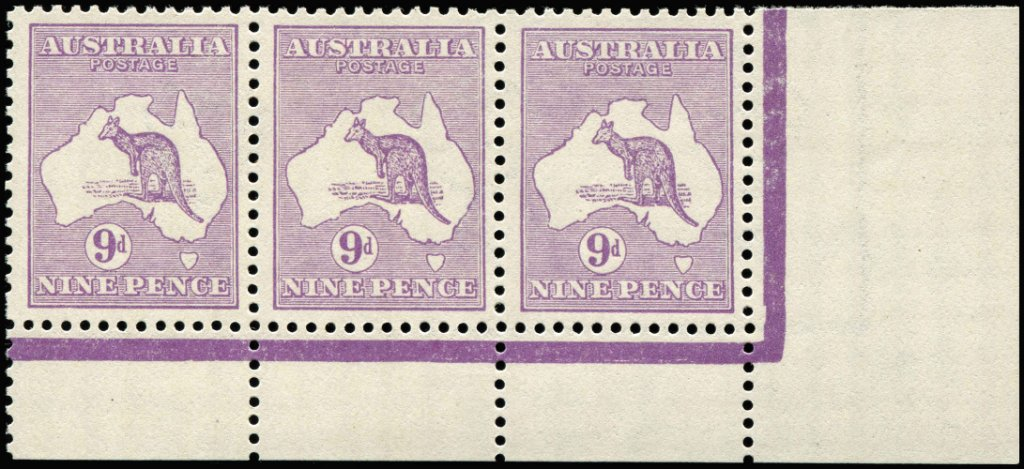 9d Violet Plate 1 No Monogram right pane 9d Kangaroo, strip of 3, ACSC#25(1)za, fresh mint, Cat $40,000