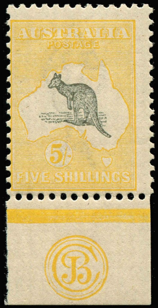 5/- Grey & Yellow JBC Third Watermark Kangaroo stamp Monogram single, ACSC #44zc,