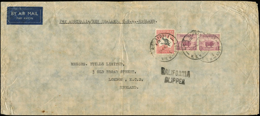 £2 Black & Rose Kangaroo plus 5d Ram pair (£2/10/- = 7 times the trans-pacific rate of 6/10d) on 1941 (Dec 6) California Clipper cover from Sydney to England via New Zealand and USA.