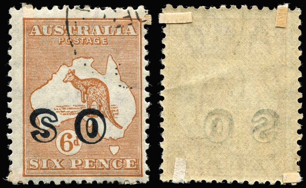 "1932 CofA watermark 6d Brown Kangaroo stamp with ""OS"" overprint inverted - invoiced $A35,000"