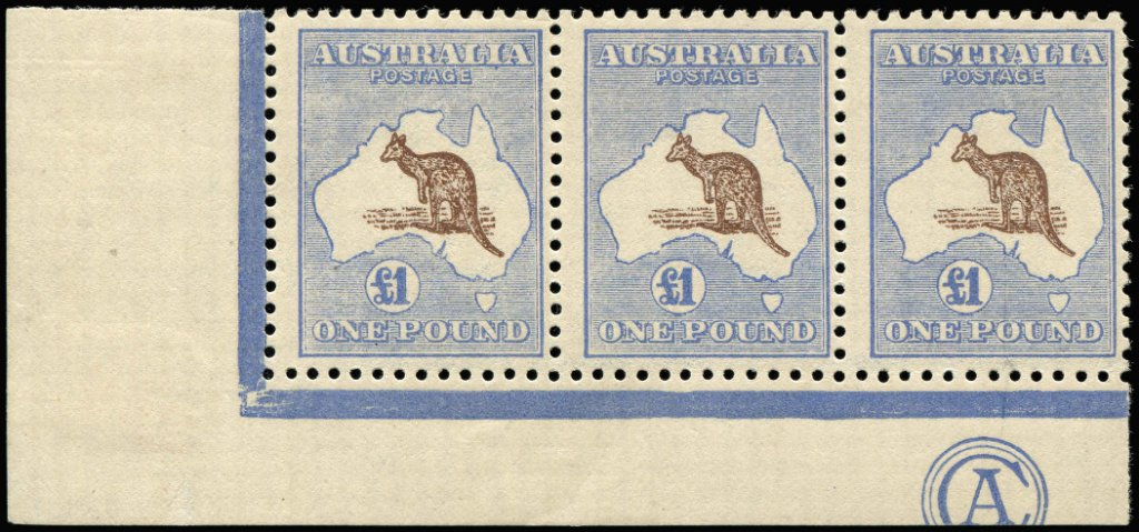 3rd Watermark Kangaroo stamp, hinged part monogram £1 corner strip 3 - invoiced $105,000