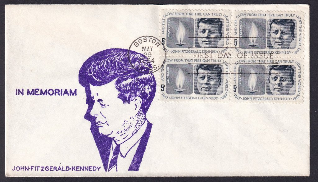 JFK unknown cachet (Mellone #184) with block of 4 postmarked Boston Massachusetts fdi 29th May 1964