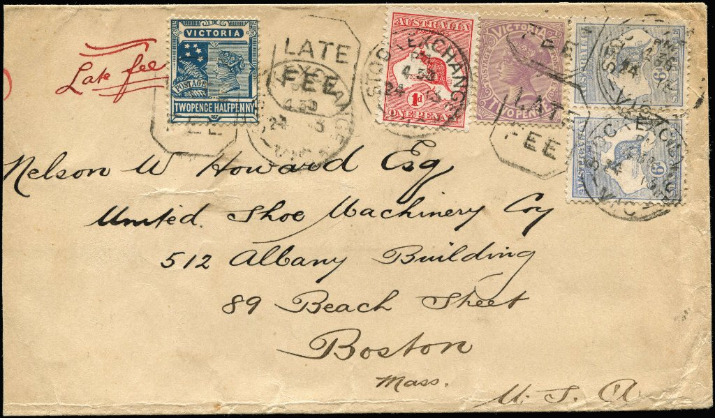 6d Blue Kangaroo pair (Cat $600 on cover) + 1d Roo + Victoria 2d violet & 2½d blue (late fee) on 1913 cover (reduced at left) from Melbourne to USA. A rare combination item. Ex Nelson and Gray