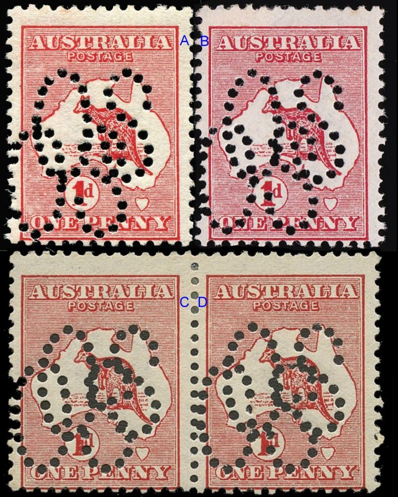 Australia 1d Red Kangaroo and Map Stamps with Double Large OS Perfs