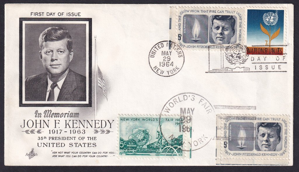 Dual cancel JFK fdc - United Nations & World's Fair