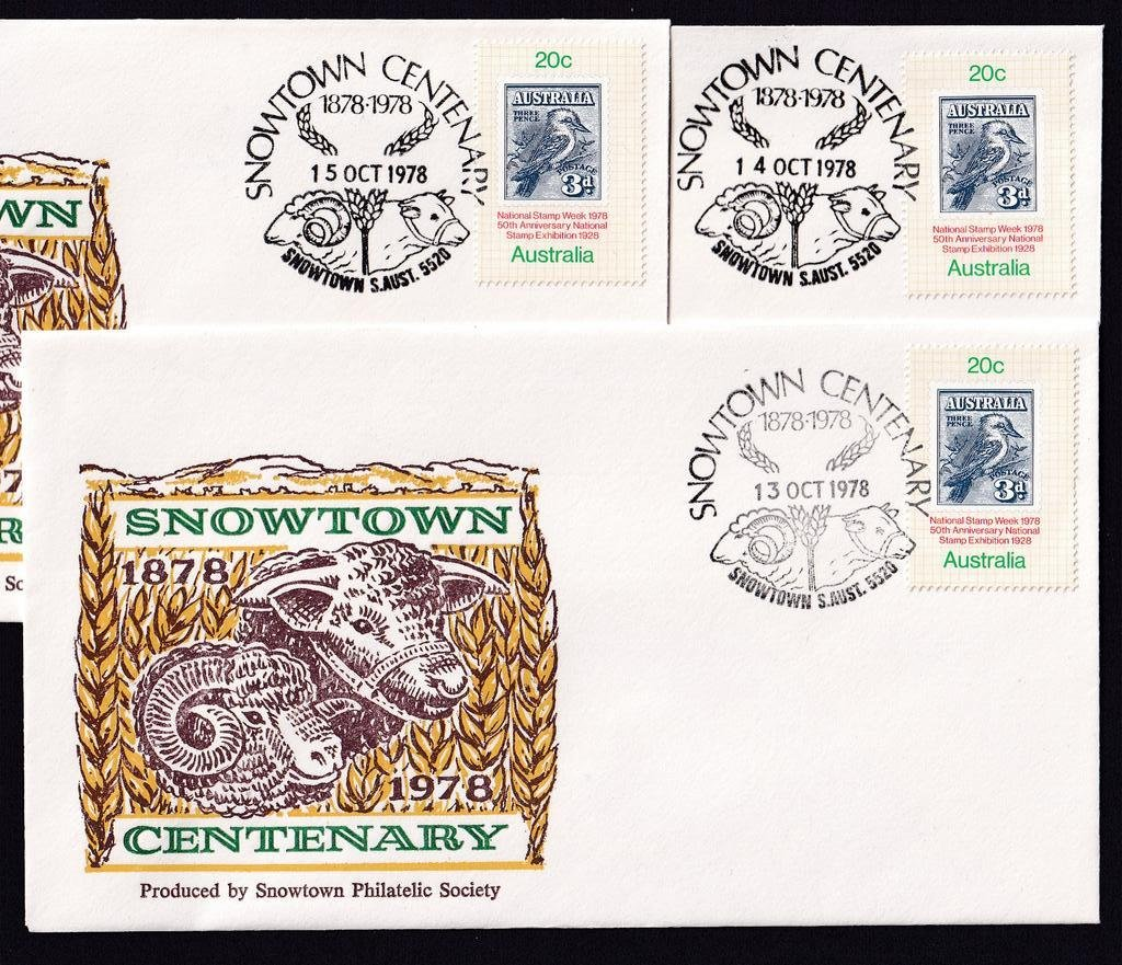 Centenary of Snowtown 1878 - 1978<br />Souvenir Covers produced by the Snowtown Philatelic Society<br />Pictorial Postmarks 13th, 14th &amp; 15th October 1978 - APM #6880.
