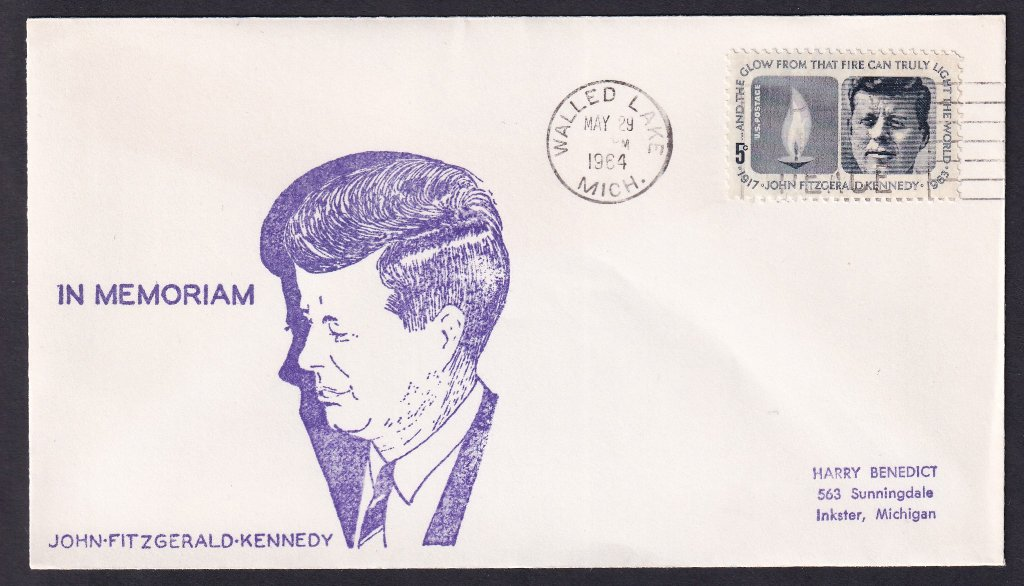 JFK unknown cachet (Mellone #184) - Walled Lake Michigan May 29, 1964