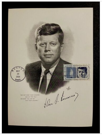 US 1246 President John F Kennedy JFK Portrait Signature May 29 1964 Boston FDC