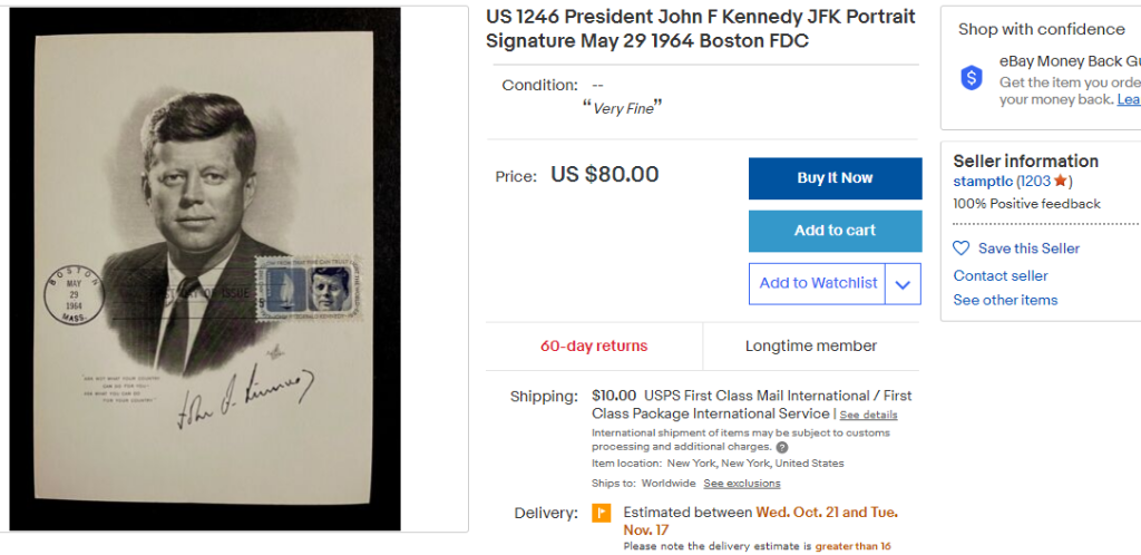 JFK ebay auction